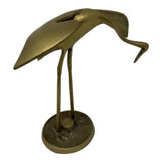 1960s Vintage Brass Crane Sculpture For Sale
