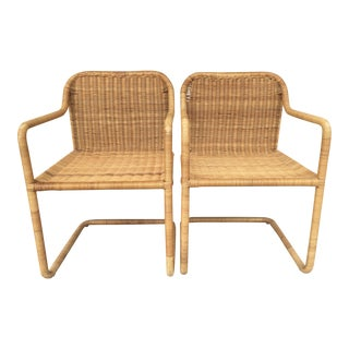 Cantilever Rattan Chairs - A Pair For Sale