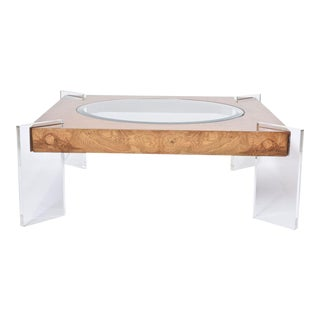 Burl Walnut, Lucite and Glass Low Table, Vladimir Kagan For Sale