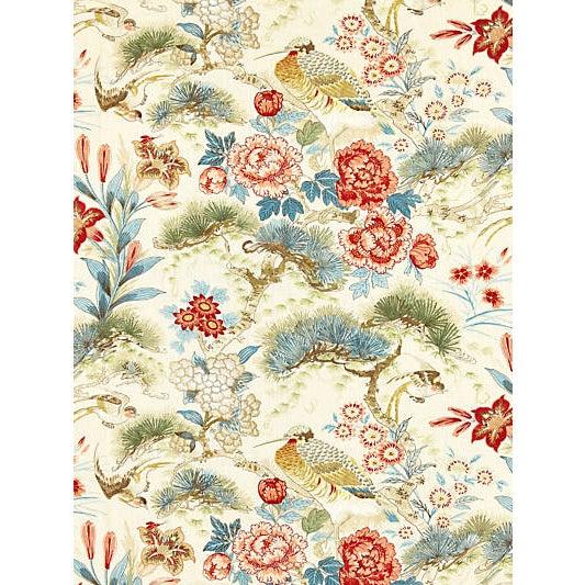 Traditional Scalamandre Shenyang Linen Print Fabric, Sandalwood For Sale - Image 3 of 3
