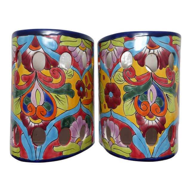 Mexican Talavera Hand Painted Ceramic Wall Lantern Sconces - a Pair For Sale