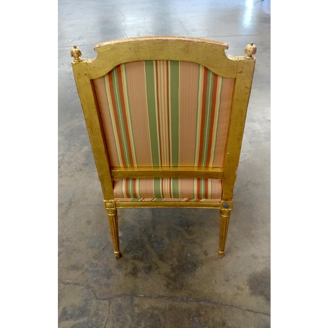 19th Century French Louis XVI Gilt Wood Fauteuils Chairs-A pair For Sale - Image 4 of 9