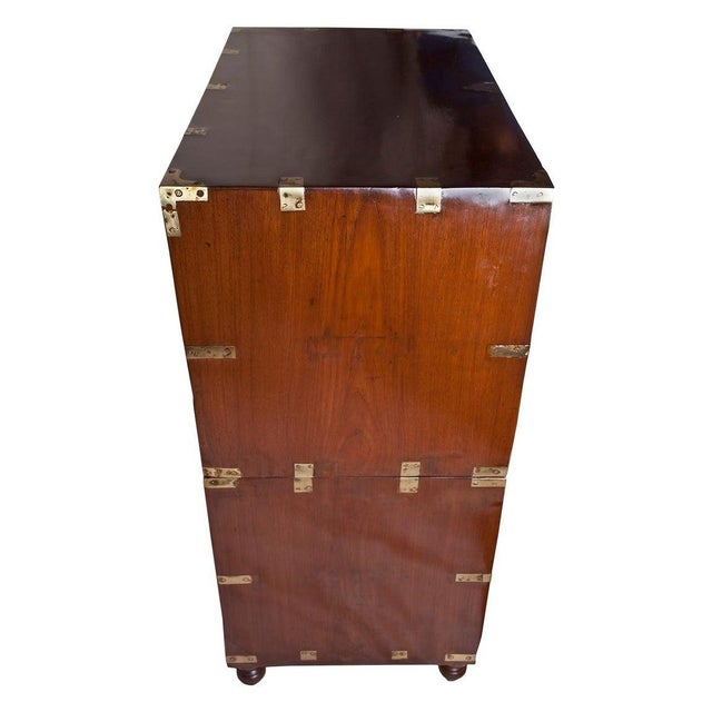 1900 - 1909 British Campaign Teak Wood Secretary and Chest of Drawers, Circa 1900 For Sale - Image 5 of 6
