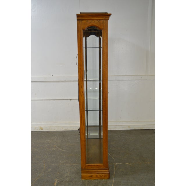 Jasper Traditional Oak Beveled Glass Lighted Curio Display Cabinet - Image 3 of 9