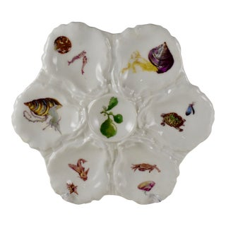 Haviland Limoges Porcelain Hand Painted Crab & Turtle Oyster Plate For Sale