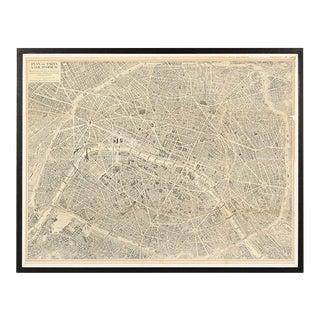"""Vintage Map of Paris, ca. 1950s, """"Plan de Paris à vol d'oiseau"""" For Sale"""