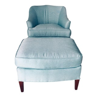 Traditional Club Chair & Ottoman Light-Blue Excellent For Sale