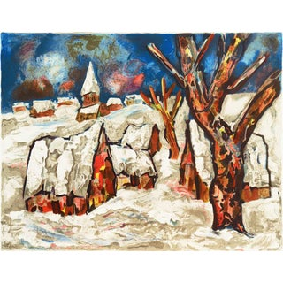Henri d'Anty Snow Covered Village Circa 1955 For Sale