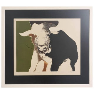 "1970s Figurative Lithograph Print ""Bull"" Taurus by Rw Downs Ltd Ed For Sale"