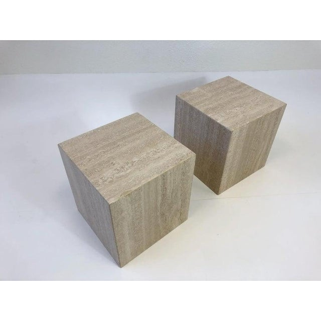 Italian Travertine Side Tables - a Pair For Sale In Palm Springs - Image 6 of 10
