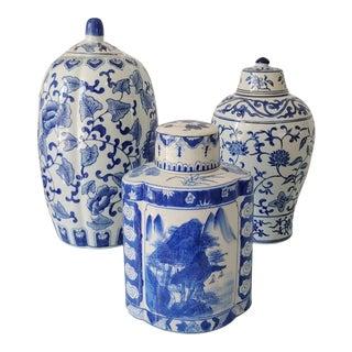 Vintage 1990s Blue and White Lidded Jars - Set of 3 For Sale