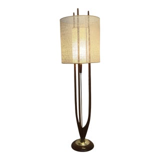 Modeline of California Mid-Century Sculptural Walnut and Brass Floor Lamp