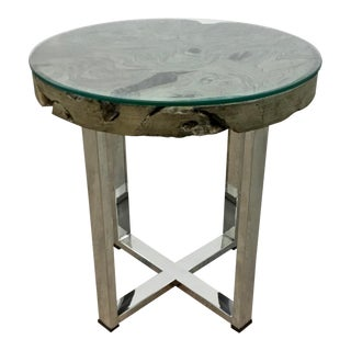 Industrial Modern Stainless Steel and Reclaimed Teak End Table For Sale
