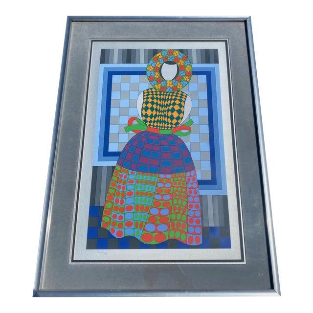 """1980s """"Fille Fleur"""" Op Art Signed Serigraph by Victor Vasarely, Framed For Sale"""