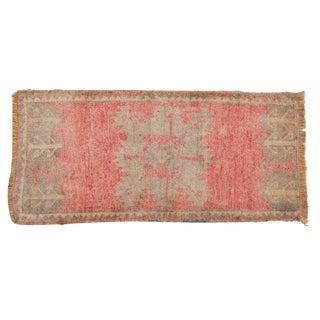 """Vintage Distressed Oushak Rug Mat Runner - 1'8"""" X 3'7"""" For Sale"""