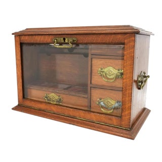 19Th Century English Oak Travel Stationary Writing Desk Box For Sale