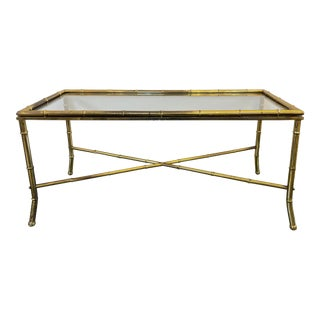 Mid 20th Century Hollywood Regency Faux Bamboo Cocktail Table For Sale