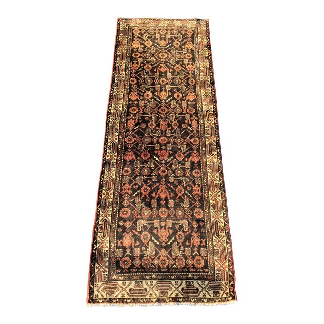 "70-Years-Old Persian Hamadan Runner - 3'4"" x 10'2"" For Sale"