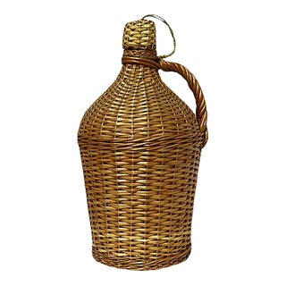Midcentury French Wicker Demijohn W/ Original Lid For Sale