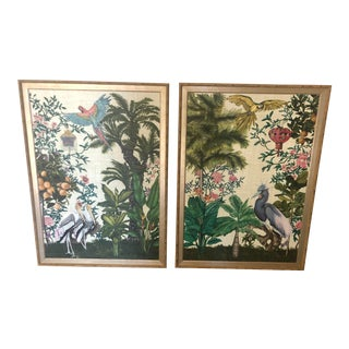 Chinoiserie Bird & Botanical Prints - a Pair For Sale