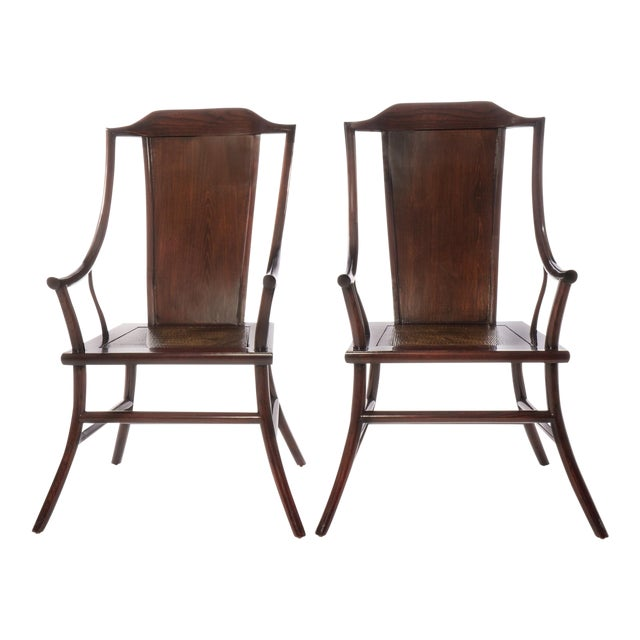 Antique Chinese Rosewood Arm Chairs - Pair - Image 1 of 3