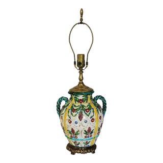 Italian Majolica Signed Vase Lamp For Sale