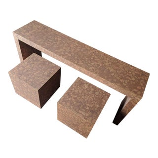 Vintage 1970's Faux Cork Console Table With Matching Cube Side Tables For Sale