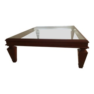 Mahogany and Glass Coffee Table For Sale