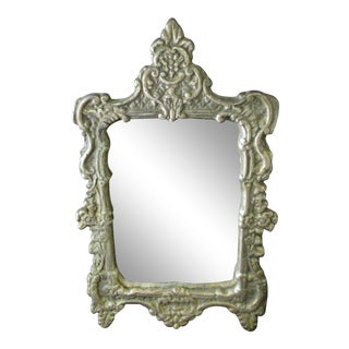 Antique Victorian Small Pewter Rectangular Vanity Table Mirror For Sale