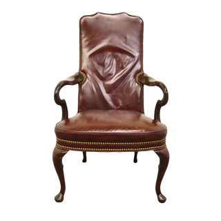 20th Century Traditional Hickory Chair James River Leather Arm Chair