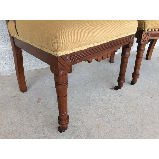Pair of Victorian Eastlake Needle Point His & Hers Accent Chairs - Image 6 of 11