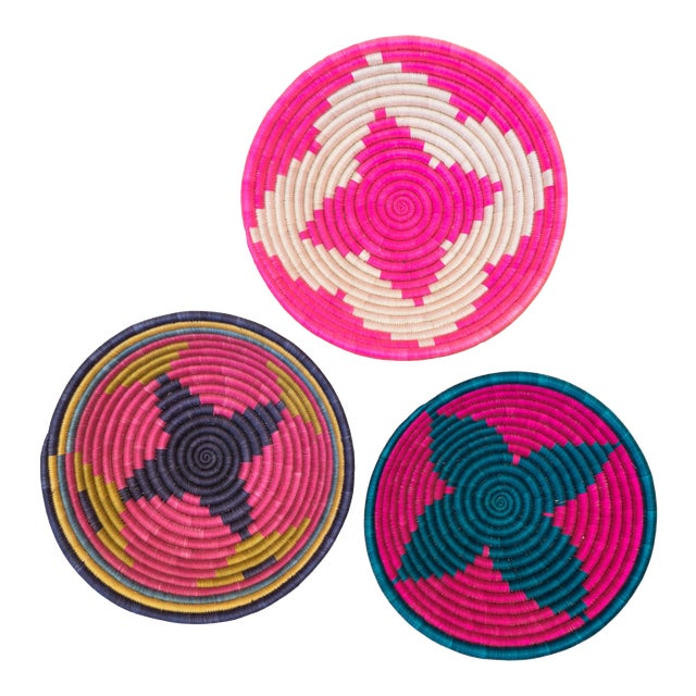 Hand Woven Rwandan Baskets - Set of 3 For Sale