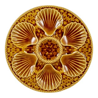Longchamp French Sienna Majolica Basketweave & Shell Oyster Plate For Sale