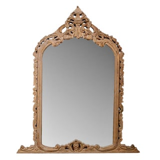 French 19th Century Hand Carved Pine Crested Mantel Mirror