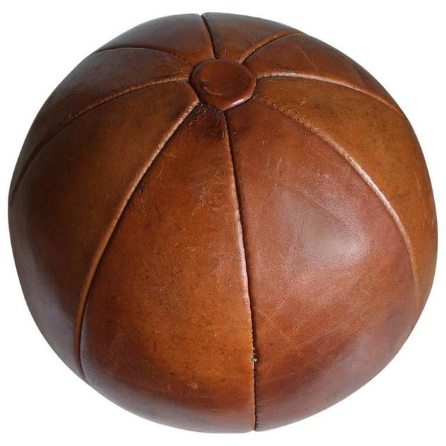 Vintage leather medicine ball by Platura For Sale - Image 11 of 11