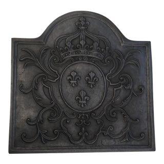 Antique French Crown Fleur De Lys Fireback Stove Back For Sale