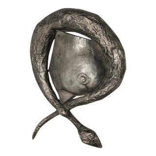 Cast Aluminum Breast & Snake Sculpture For Sale