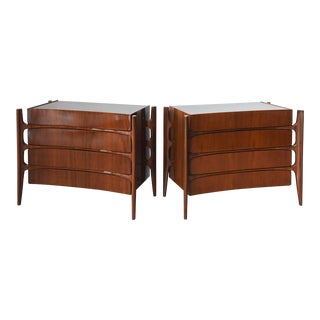 Sir Edmond Spence Pair of Swedish Modern Walnut Chests, 1950s For Sale