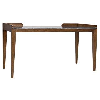 Wod Ward Desk, Dark Walnut With Stone Top For Sale