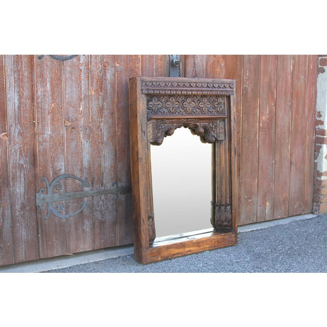 19th Century Beautiful Old Hindaun Jarokha Carved Mirror For Sale - Image 5 of 11