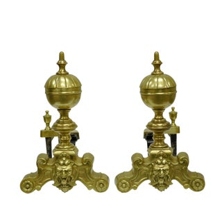 French Louis XV Style Cannonball Figural Brass Andirons - A Pair