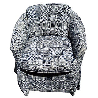 Upholstered 1800's Coverlet Slipper Chair For Sale