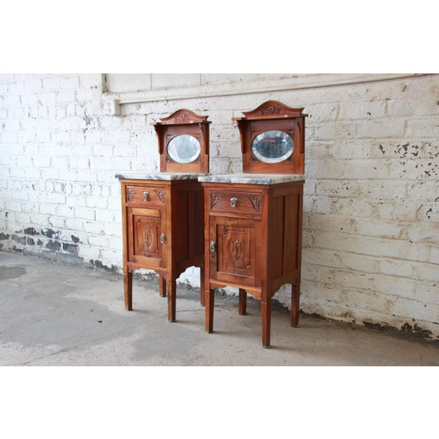 Victorian Walnut & Marble Nightstands - a Pair - Image 3 of 11