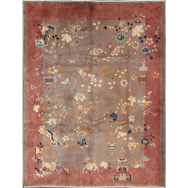 1920s Vintage Chinese Art Deco Rug - 9′ × 11′8″ For Sale - Image 11 of 11