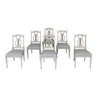 Set of Six Dining Chairs, 19th Century, Painted, French Louis XVI For Sale