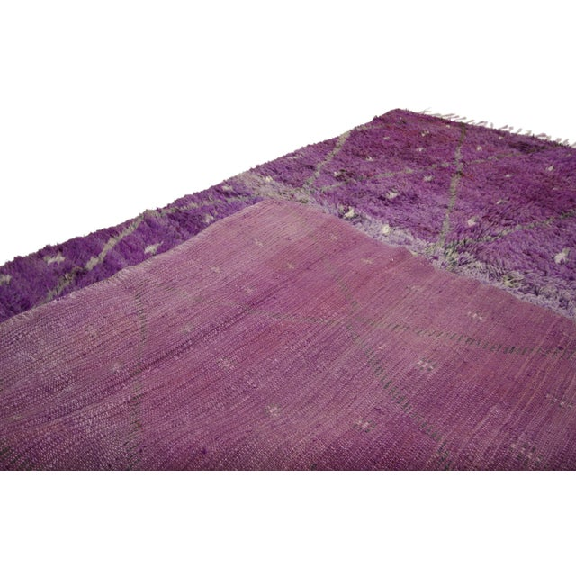 "Amethyst 20th Century Moroccan Berber Purple Rug with Diamond Pattern - 6'7"" X 10'2"" For Sale - Image 8 of 10"