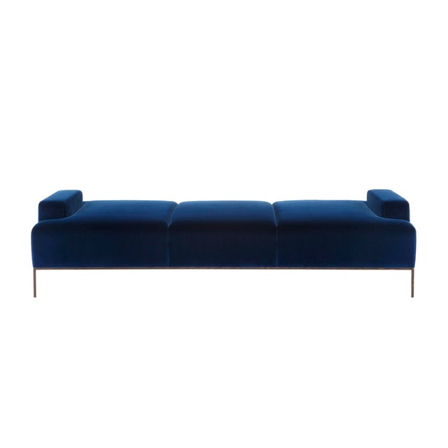 Velvet Channel Tufted Wood Wenge Base Stiletto Daybed For Sale In New York - Image 6 of 6