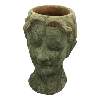 Terra Cotta Head of a God Bust Planter For Sale