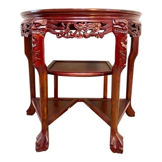 Antique Hand Carved Chinese Rosewood Demi- Lune Entryway Table For Sale