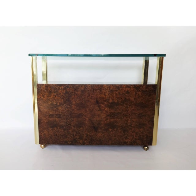 Metal Burl Wood and Brass Sideboard by Century Furniture Company For Sale - Image 7 of 8
